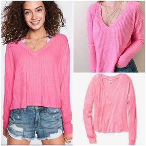 Victoria's Secret Pink Long Sleeve Vneck Cozy Swea